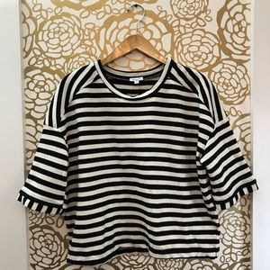 Splendid Black White Stripe Crew Neck Short Sleeve
